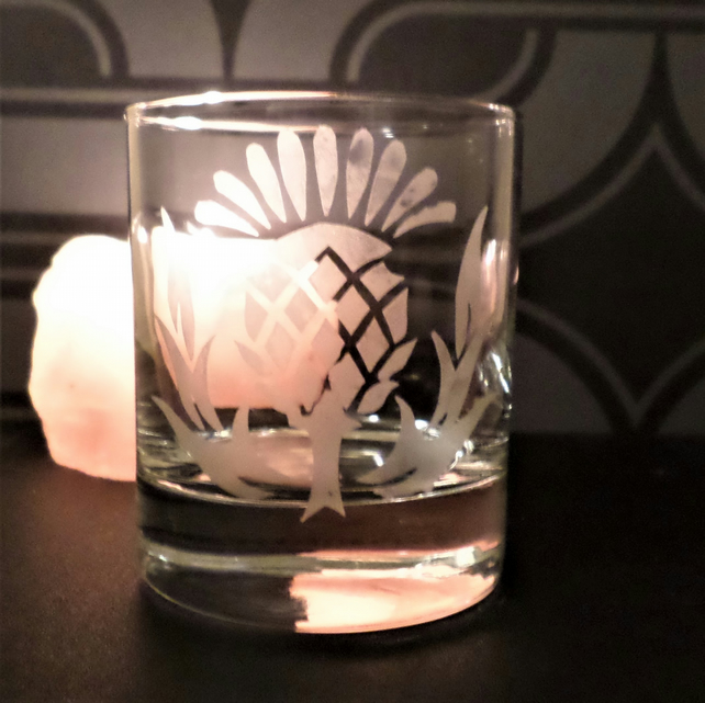 Scottish thistle tea light candle holder or whisky glass