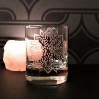 Etched glass mandala tea light candle holder