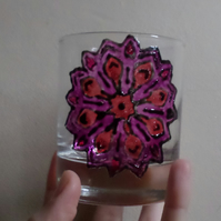 Hand painted glass tea light candle holder with mandala design