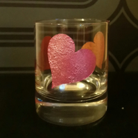 Hand painted glass tea light candle holder with hearts HPG1