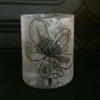 Floral poppy decorated glass tea light candle holder  FwG1
