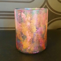 Mermaid inspired painted glass tea light holder