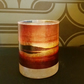 Scottish sunset decorated glass tea light candle holder