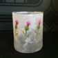 Scottish thistle design glass tea light candle holder