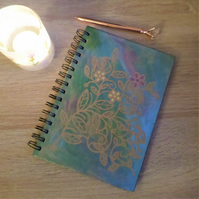 Handpainted hardback lined notebook with paper cut decoration NB1