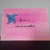 watercolour painted A5 pink mothers day card with flower design