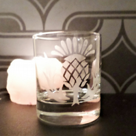 Scottish thistle tea light candle holder or whisky glass EG4