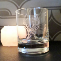Stag etched glass tea light candle holder or whisky glass EG5