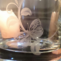 Butterfly etched glass tea light candle holder EG6