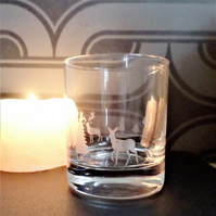 Scottish landscape tea light candle holder or whisky glass EG7