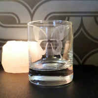 Butterfly etched glass tea light candle holder EG9