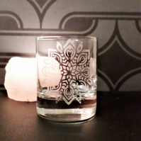Etched glass tea light candle holder, glass,small vase EG2
