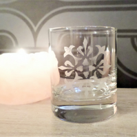 Mandala etched glass tea light candle holder EG3