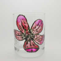 Painted poppy glass tea light candle holder or small vase