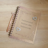 A5 hardback lined notebook with painted inspirational quote design NB7