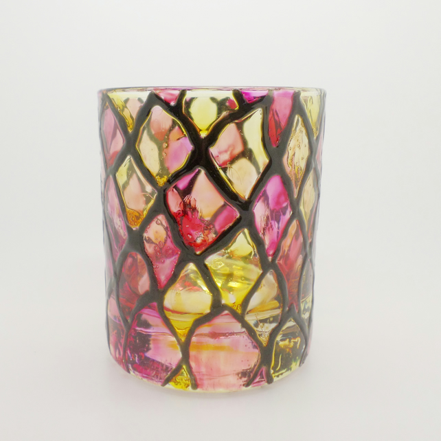 Harlequin design painted tea light candle holder small vase