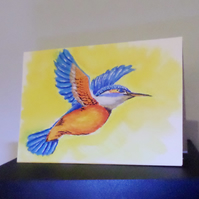 Watercolour kingfisher painting keepsake A5 card