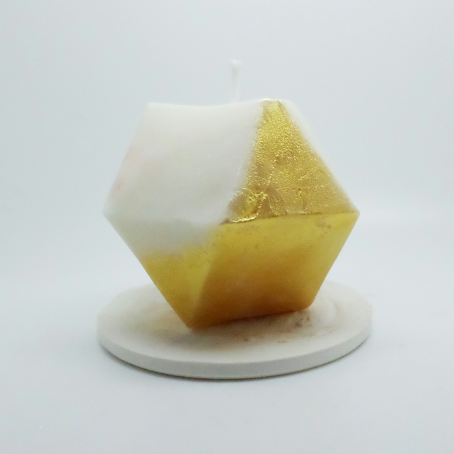 Geometric shaped gold hand painted soy wax pillar candle and candle plate
