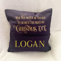Christmas Eve Pocket Cushion Cover with book