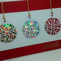 "Handmade Christmas Card Colourful Christmas Baubles 5"" x 7"""