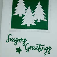 Handmade Christmas Card Snowy Fir Tree Green