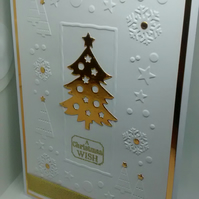 "Handmade Christmas Card Gold Christmas Tree 5""x7"""