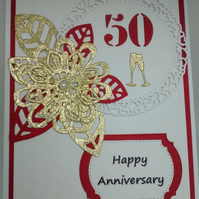 "Handmade Wedding Card Happy 50th Anniversary 5""x7"""