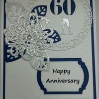"Handmade Wedding Card Happy 60th Anniversary 5""x7"""