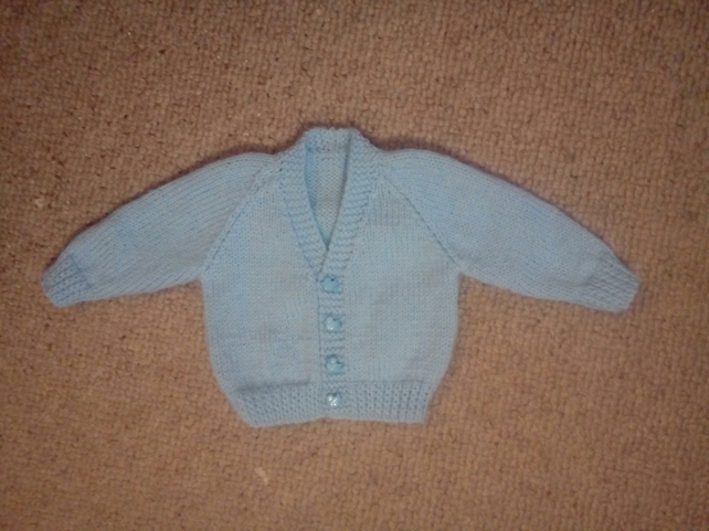 New hand knitted blue cardigan for 0-3 months