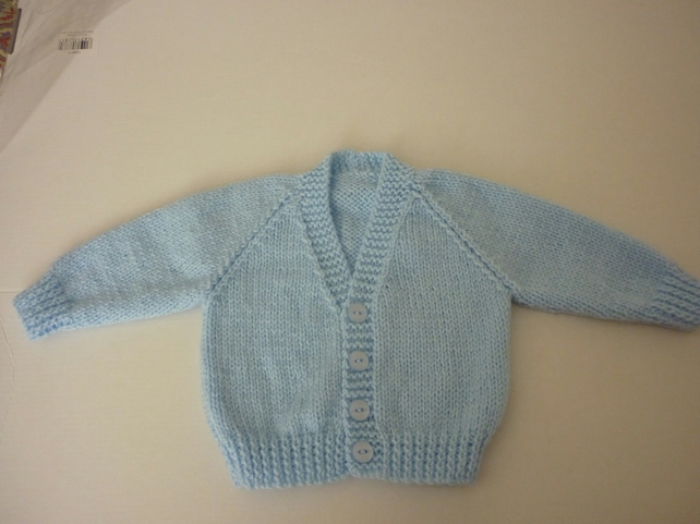 New hand knitted blue baby cardigan for 0-3 months