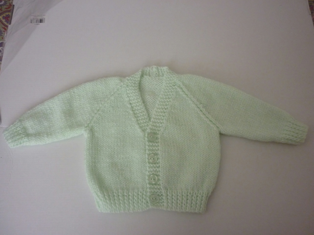 New hand knitted mint green baby cardigan for 0-3 months