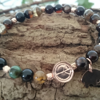 Dragon Vein Agate and 925 Sterling Silver Rose Gold Vermeil Peace charm bracelet