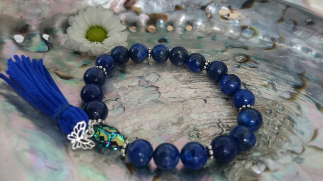 Lapis Lazuli and Sterling Silver Gemstone Elasticated Bracelet