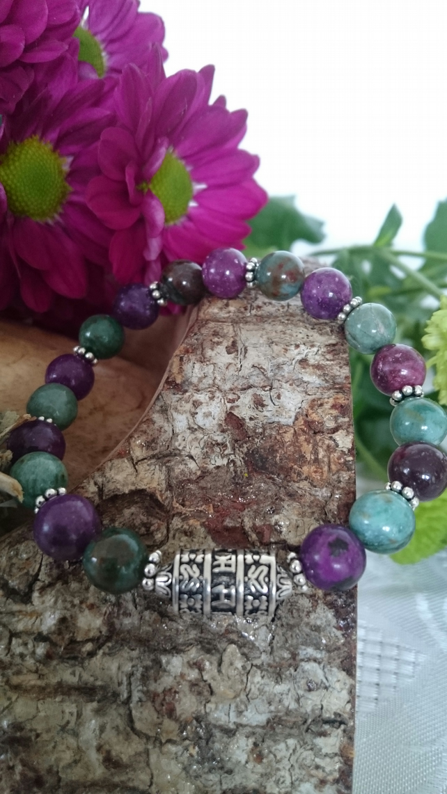 Buddhist Prayer Wheel gemstone and sterling silver elasticated bracelet