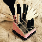 Pink black lace burlesque makeup holder