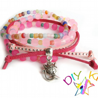 "Pink Arm Candy Bracelet Kit, Set of 4 DIY stacking bracelets -""Kitty"""