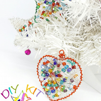 DIY Christmas decoration kit, Make your own Wire Wrapped Heart Ornament