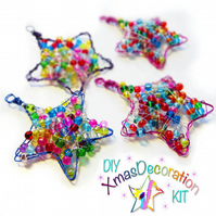 "Craft Kit Gift Set, Box of 4 DIY ""Festive Star"" Beaded Christmas Decorations"