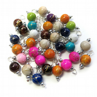8mm Prewired Dangle Beads in mixed colours, 10X Bead Charms on Silver Findings