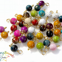 8mm Prewired Dangle Beads in mixed colours, 10X Bead Charms on Golden Findings