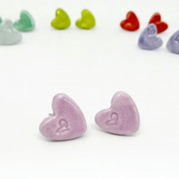 Ceramic Heart Stud Earrings - Orchid pink