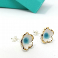 Domed Flower Studs, White & Turquoise ceramic studs with Gold Lustre