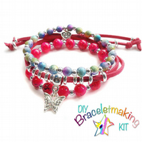 Arm Candy  Bracelet kit - Set of 3 stacking bracelets to make & wear- Cerise