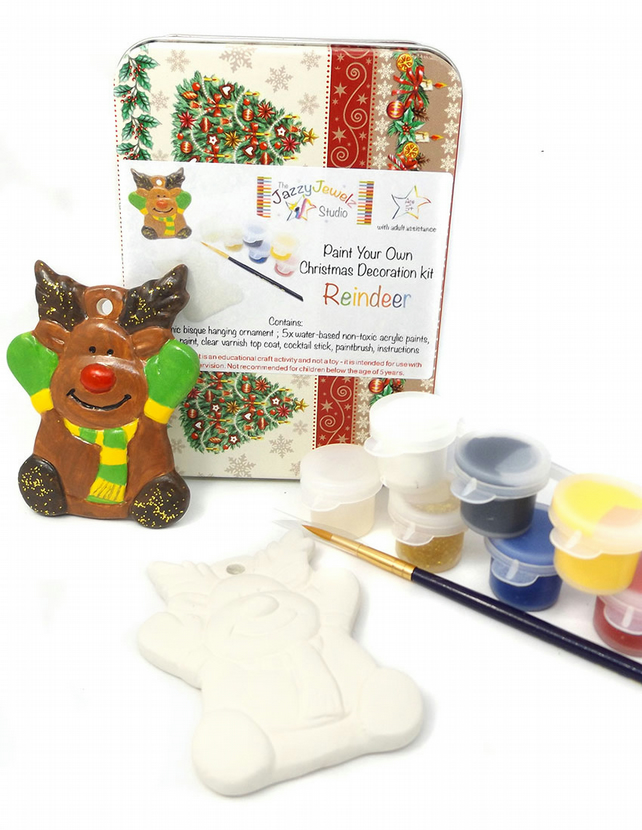 Christmas Craft Kit - Ceramic Reindeer Ornament to Decorate