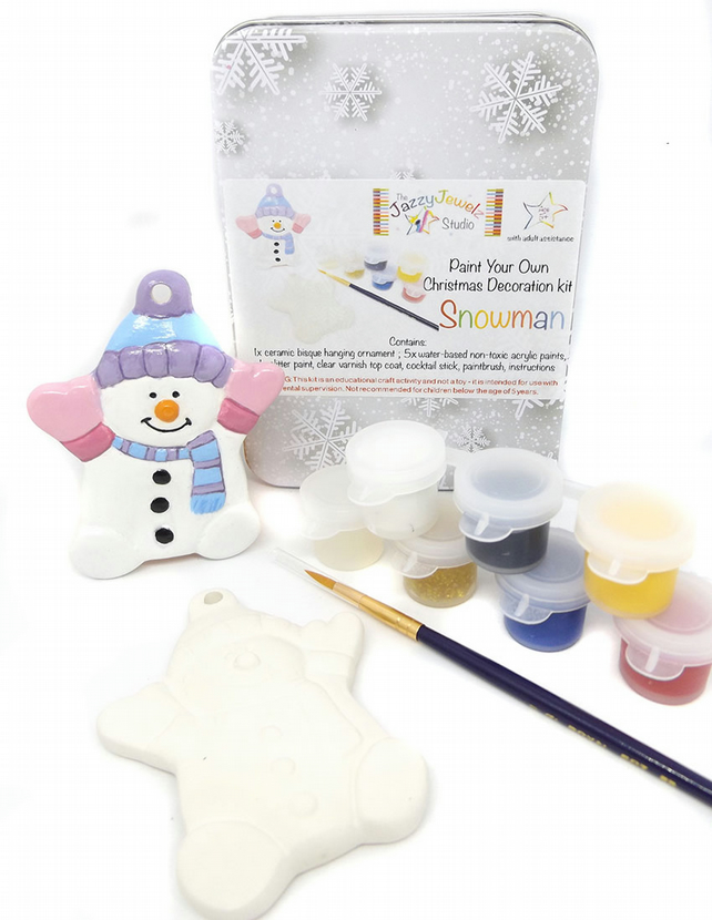 DIY Craft Kit - Ceramic Snowman Ornament to Decorate.