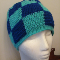 Blue and Turquoise Checked Beanie Hat