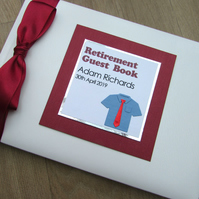 Retirement Guest Book Personalised Birthday Gift Shirt & Tie Burgundy