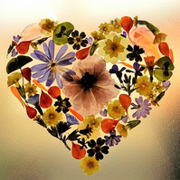 Made to order Pressed Flower Heart Picture - choose your favourite flowers.