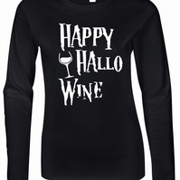 Happy Hallowine Womens Fitted Long Sleeve Tee
