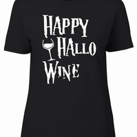 Happy Hallowine Womens Fitted Tee T-Shirt